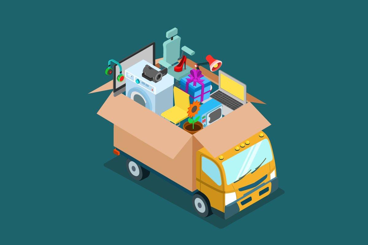 bus - grafika wektorowa - pełen bagażu i produktów